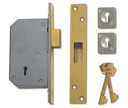 Union 3G110 - 5 Detainer Deadlock (73mm, Polished Brass, Keyed Alike)