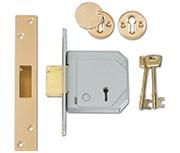 Union 3G114E - BS 5 Lever Deadlock (67mm, Polished Brass, Keyed Alike)