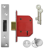 Union J2100 StrongBOLT - BS 5 Lever Deadlock (68mm, Satin Stainless Steel)