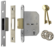 ERA 201 Viscount - 5 Lever Deadlock (65mm, Satin Chrome)