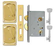 Thumbnail of Willenhall 3500 - 4 Lever Hookbolt Sliding Door Lock (75mm, Polished Brass)