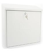 Contemporary White - Dual Access Steel Post Box