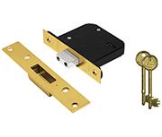Asec Vital BS 5 Lever Deadlock (65mm, Polished Brass)