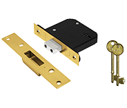 Thumbnail of Asec Vital BS 5 Lever Deadlock (65mm, Polished Brass)