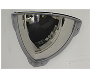 Thumbnail of Convex 250mm Stainless Steel Quarter Dome Corner Mirror - Anti-ligature
