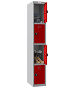 Thumbnail of Phoenix Single 4 Door Red Locker - Combination Locking