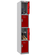 Thumbnail of Phoenix Single 4 Door Red Locker - Electronic Locking