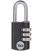 Yale YE3CB 20mm Black Aluminium Combination Padlock