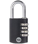 Yale YE3CB 38mm Black Aluminium Combination Padlock