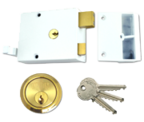 Thumbnail of Union 1332 - Double Throw Drawback Night Latch (60mm, White, Polished Brass)