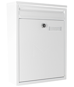 Como White - Dual Access Steel Post Box