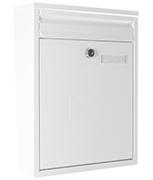Como White - Dual Access Steel Post Box