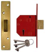 Union 2134E - BS 5 Lever Deadlock (67mm, Polished Brass)