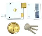 Thumbnail of Union 1334 - Double Throw Drawback Night Latch (50mm, White, Polished Brass)