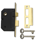 Yale PM320 - 3 Lever Sashlock (67mm, Polished Brass)