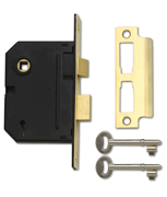 Yale PM320 - 3 Lever Sashlock (80mm, Polished Brass)