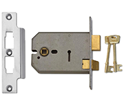 Union 2077 - 3 Lever Horizontal Sashlock (124mm, Satin Chrome)