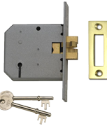 Union 2477 - 3 Lever Clawbolt Sliding Door Lock (77mm, Polished Brass)