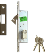 CISA 45010 - Small Oval Cylinder Hookbolt Sliding Door Lock (30mm, Nickel Plated)