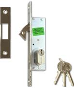 CISA 45010 - Small Oval Cylinder Hookbolt Sliding Door Lock (30mm, Nickel Plated)