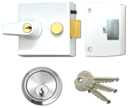 Thumbnail of Union 1098 - Auto Deadlocking Night Latch (60mm, White, Satin Chrome)