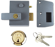 Yale No. 2 - Auto Deadlocking Night Latch (40mm, Dark Grey, Polished Brass)