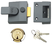 Yale 85 - Deadlocking Night Latch (40mm, Dark Grey, Polished Brass)