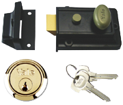 Yale 99Z - Standard Night Latch (60mm, Black, Polished Brass)
