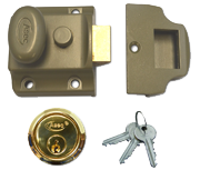 Asec Traditional Night Latch (40mm, Green, Polished Brass)