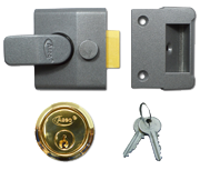 Asec AS15 - Deadlocking Night Latch (40mm, Dark Grey, Polished Brass)