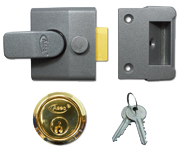 Asec AS14 - Standard Night Latch (40mm, Dark Grey, Polished Brass)