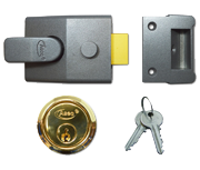 Asec AS18 - Standard Night Latch (60mm, Dark Grey, Polished Brass)