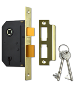 Union Essential - 3 Lever Sashlock (65mm, Polished Brass)