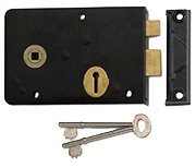 Thumbnail of Union 1439 - 3 Lever Left Handed Rim Lock (152mm, Black)