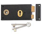 Thumbnail of Union 1465 - 3 Lever Left Handed Rim Lock (140mm, Black)