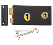 Thumbnail of Union 1465 - Double Handed 3 Lever Rim Lock (140mm) - R/H (Black)