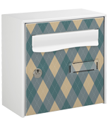 Bluish Textile Design - Steel Post Box