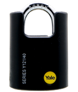 Yale Y121 Black Jacket 40mm Brass Padlock