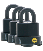 Yale Y220 Weatherproof 51mm Steel Padlock (3 pack)