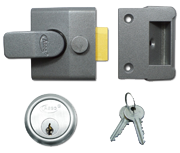 Asec AS14 - Standard Night Latch (40mm, Dark Grey, Satin Chrome)
