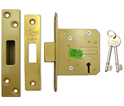 Asec BS 5 Lever Deadlock (64mm, Polished Brass)