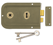 Union 1445 - 3 Lever Double Handed Rim Lock (152mm, Champagne)