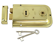 Union 1445 - 3 Lever Double Handed Rim Lock (152mm, Polished Brass)