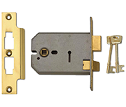 Union 2077 - 3 Lever Horizontal Sashlock (124mm, Polished Brass)