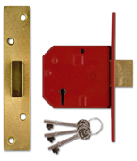 Thumbnail of Union 2134E - BS 5 Lever Deadlock (79mm, Polished Brass, Keyed Alike)