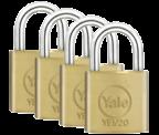 Yale YE1 Essential 20mm Brass Padlock (4 pack)